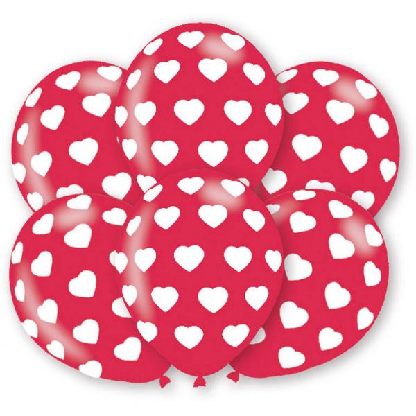 6 runde Luftballons Herzen rot und weiß