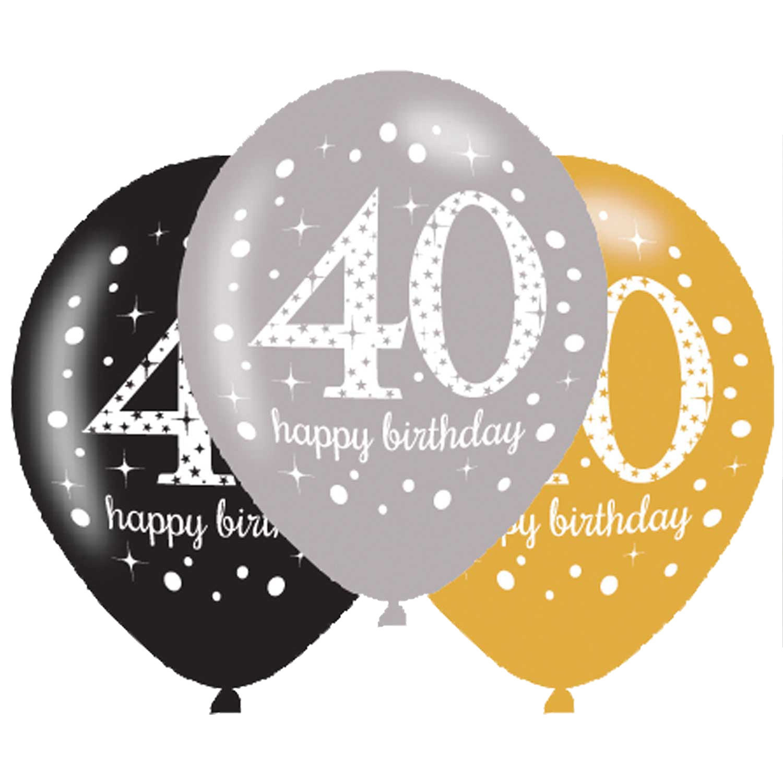 40. Geburtstag Party Luftballons schwarz silber gold