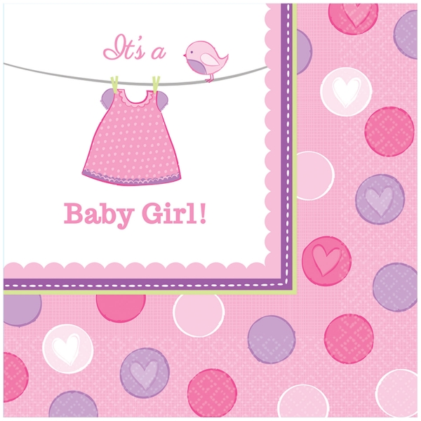 Baby Party Mädchen Party Servietten 33 x 33 cm