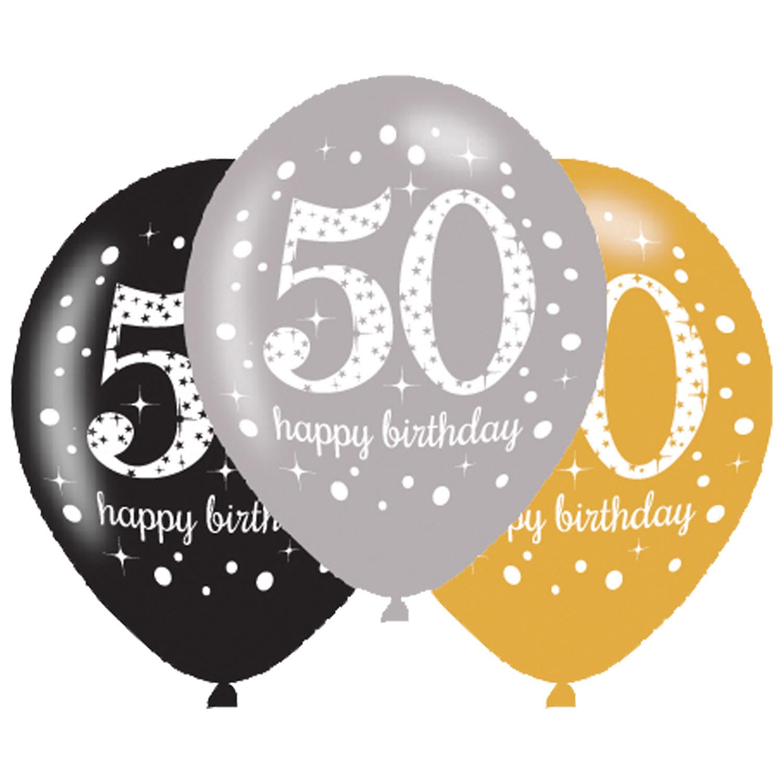50. Geburtstag Party Luftballons schwarz silber gold