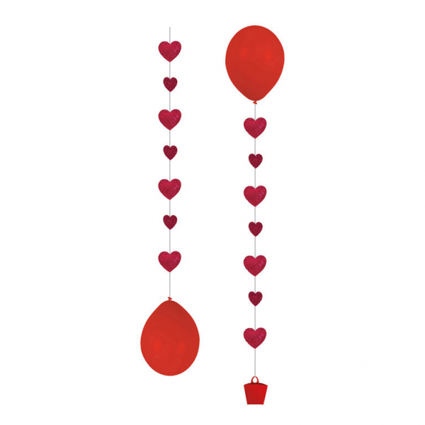 3 Helium Ballon Anhänger Rote Herzen