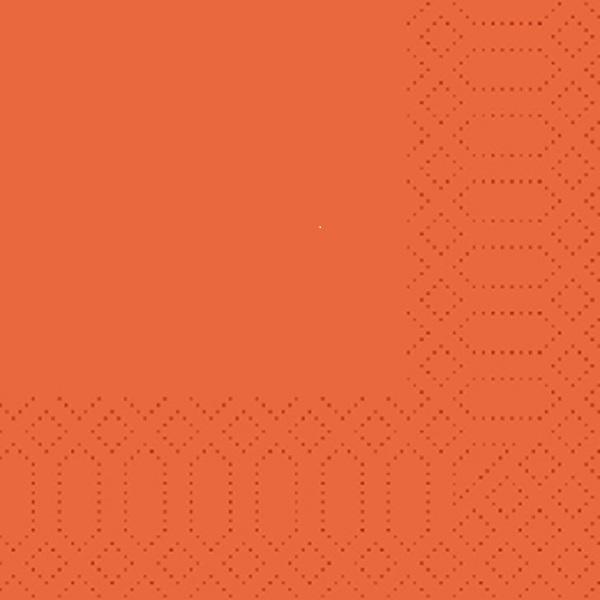250 Duni Zelltuch Servietten orange 3 lagig 1/4 Falz 33 x 33 cm