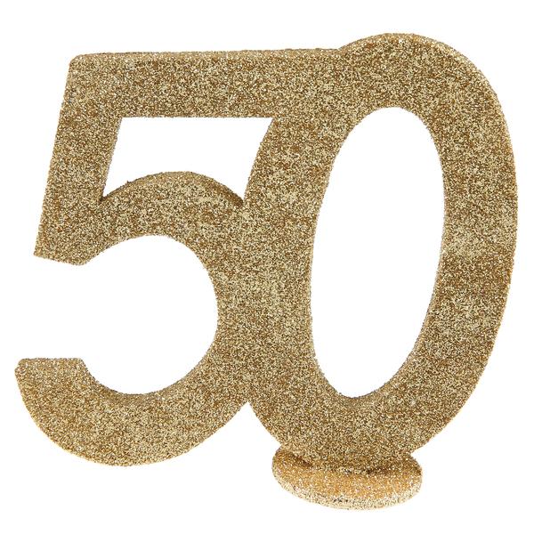 Tisch Aufsteller mit der Jubiliäumszahl 50 in gold