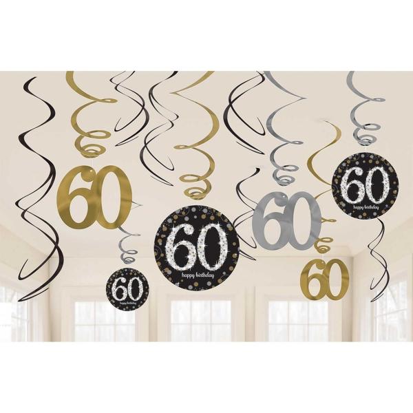 60. Geburtstag Party Swirl Girlanden schwarz gold