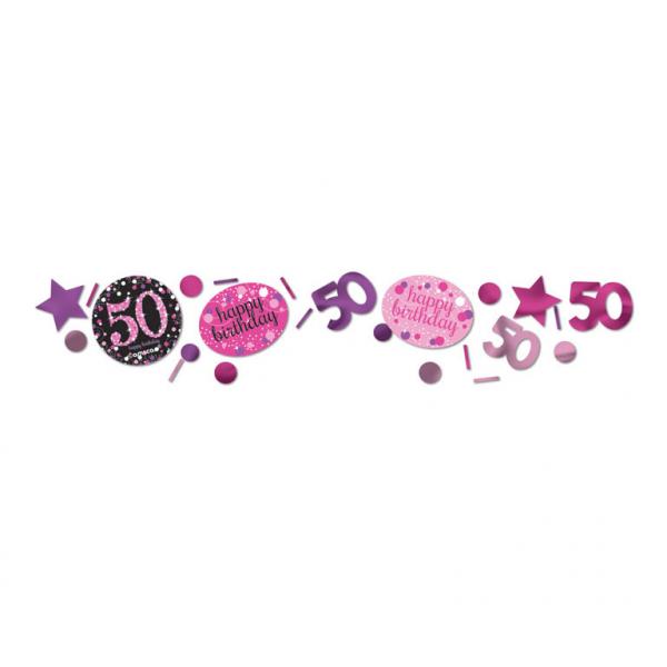 50. Geburtstag Party Deko Konfetti Happy Birthday pink schwarz