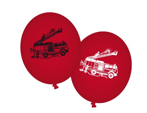 Party Feuerwehr Luftballons 8 St. rot