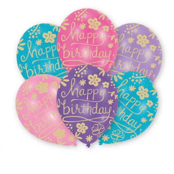 6 Luftballons Happy Birthday pastell von Amscan