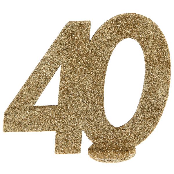 Tisch Aufsteller mit der Jubiliäumszahl 40 in gold