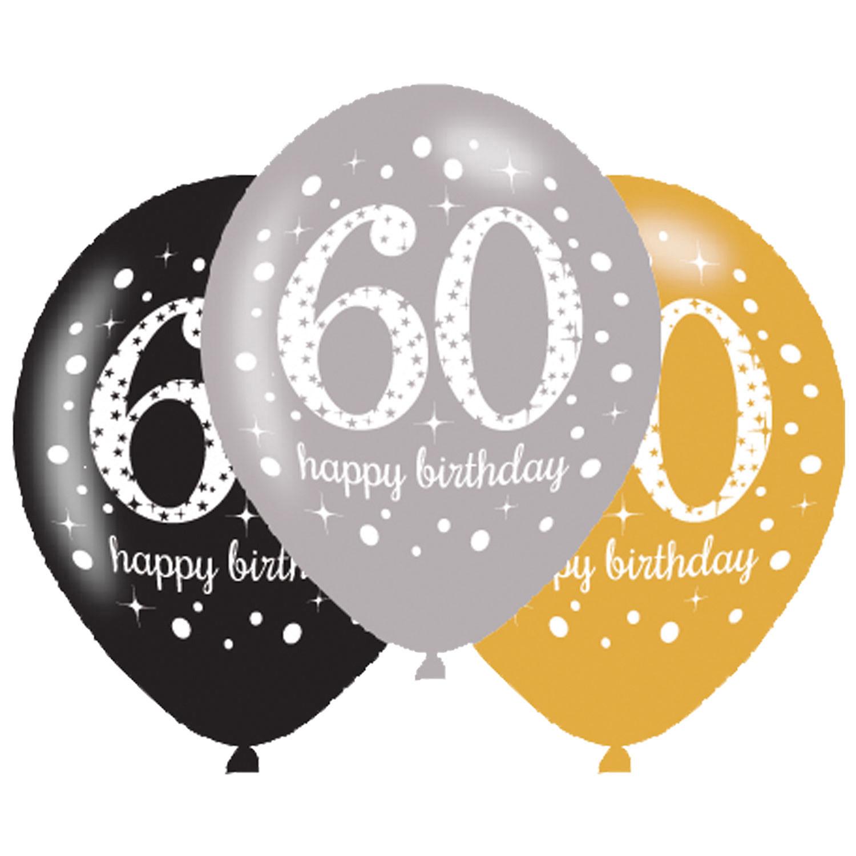 60. Geburtstag Party Luftballons schwarz silber gold
