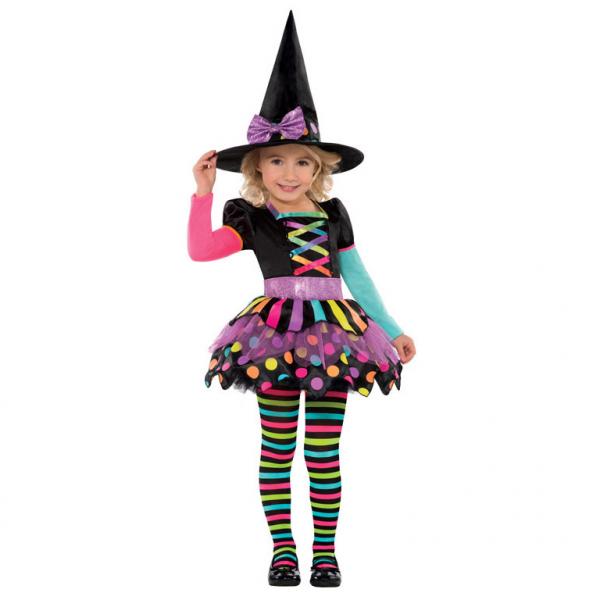 Die bunte Hexe Kinder Kostüm Gr.: 98 - 104  3 - 4 Jahre