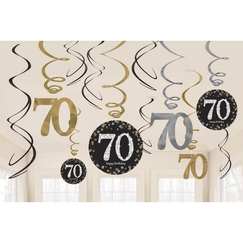 70. Geburtstag Party Swirl Girlanden schwarz gold