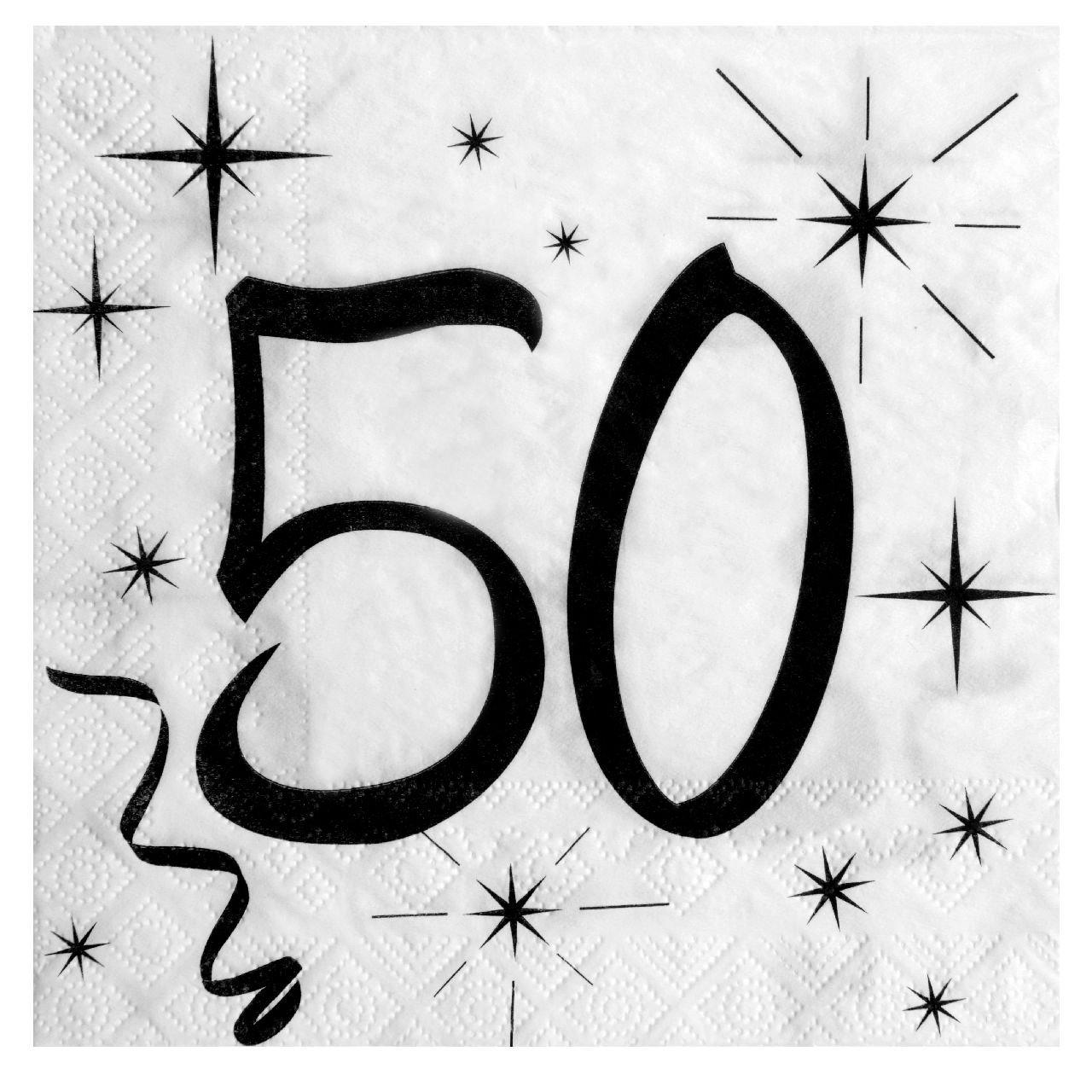 50. Geburtstag Servietten schwarz weiß