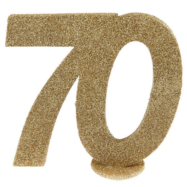 Tisch Aufsteller mit der Jubiliäumszahl 70 in gold