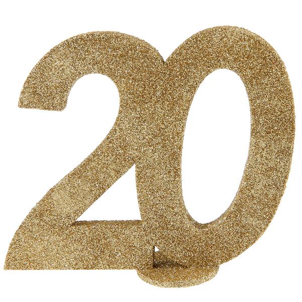 Tisch Aufsteller mit der Jubiliäumszahl 20 in gold