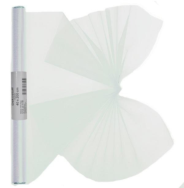 Dekostoff Organza gerollt 40 x 200 cm weiß