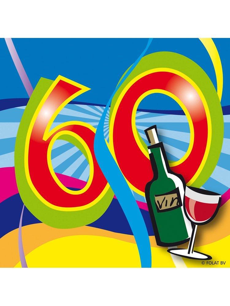 60. Geburtstag Party Servietten bunt von Folat 25 x 25 cm