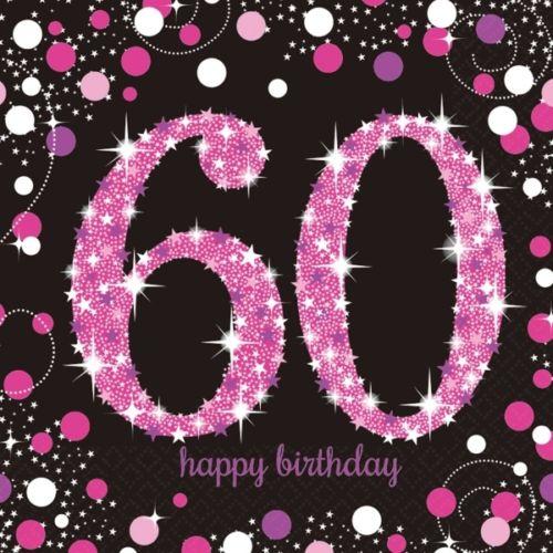 60 Geburtstag Feier Party Motiv Servietten Schwarz Rosa Tisch Deko