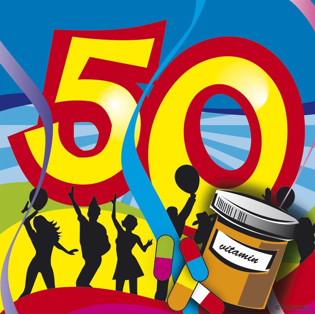 50.Geburtstag Party Servietten bunt von Folat 25 x 25 cm