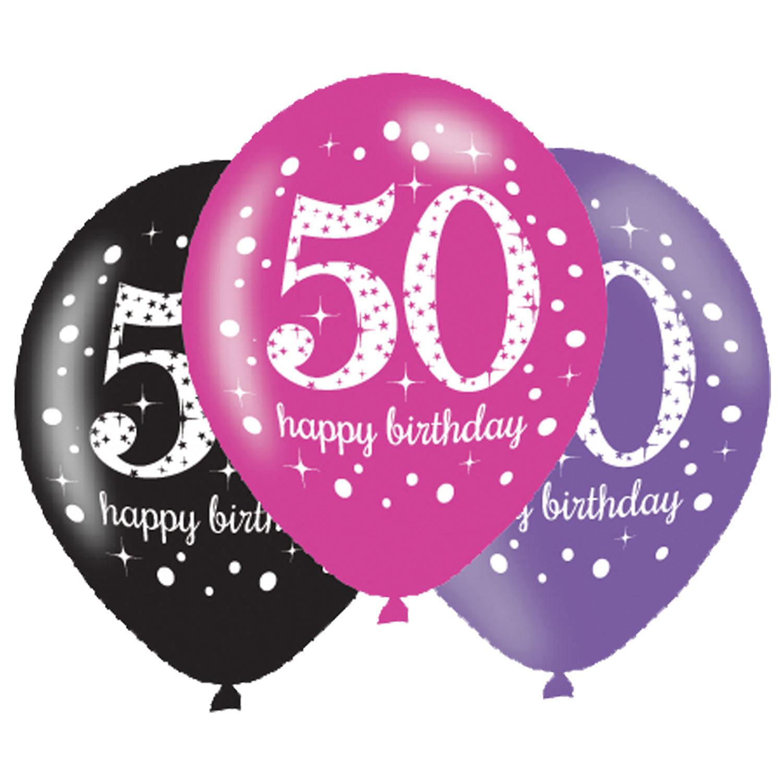 50. Geburtstag Party Luftballons Pink schwarz