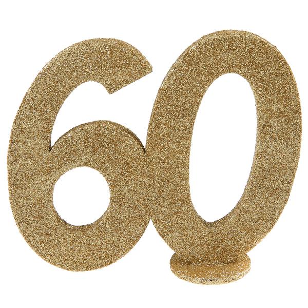 Tisch Aufsteller mit der Jubiliäumszahl 60 in gold