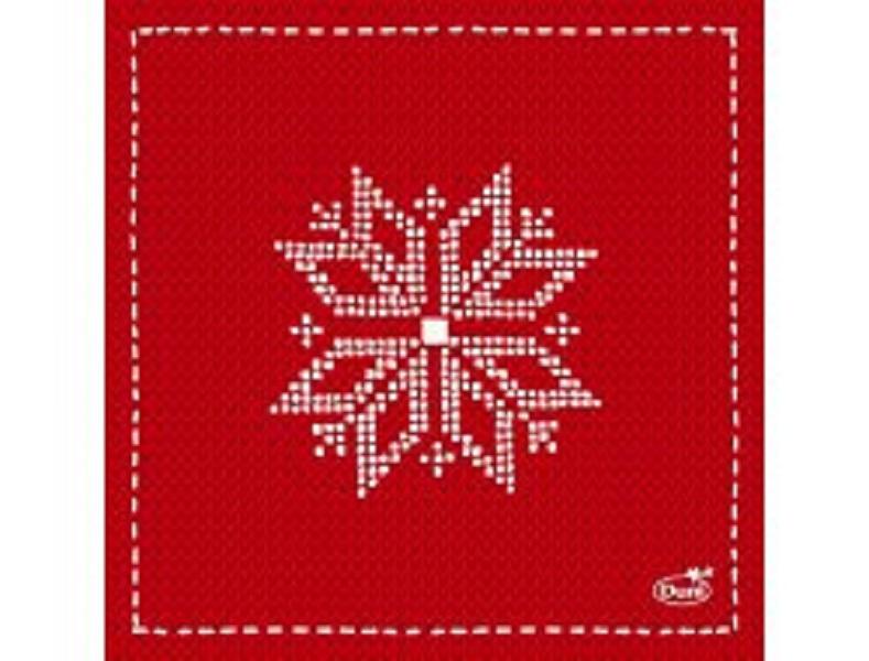 50 Duni Zelltuch Servietten Knitting red 24 x 24 cm