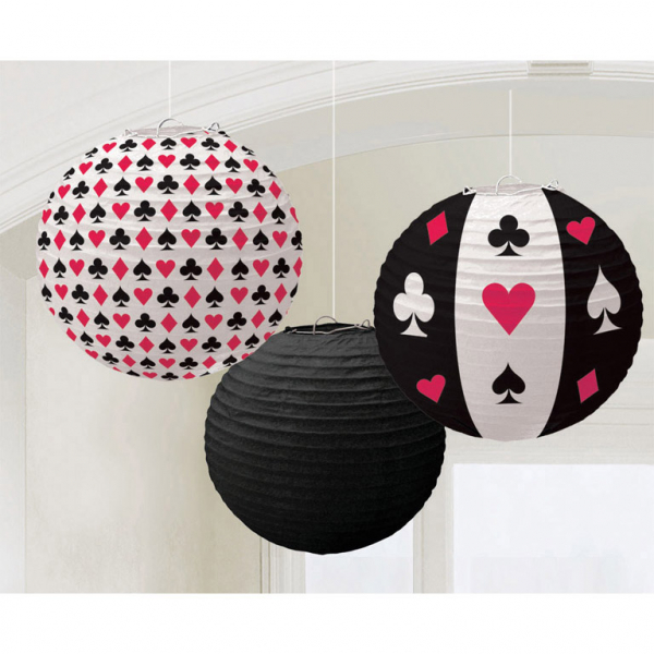 Lampions Laternen Casino Herz Pik Karo Blatt 3 Stück