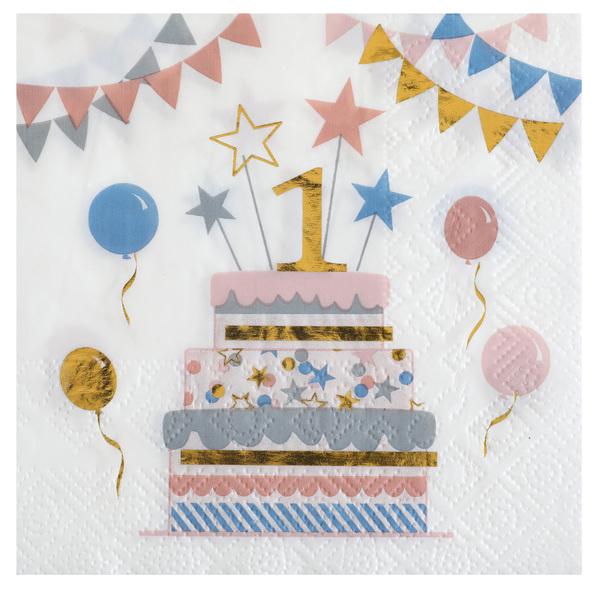 Party Servietten Geburtstag Zahl 1 Luftballon . Luftballons 25 x 25 cm