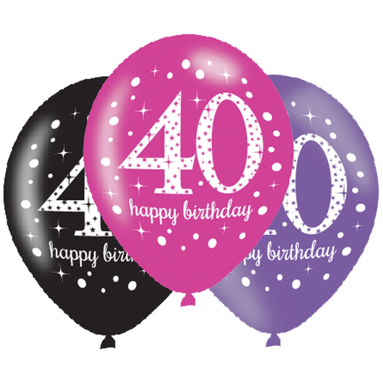 40. Geburtstag Party Luftballons Pink schwarz