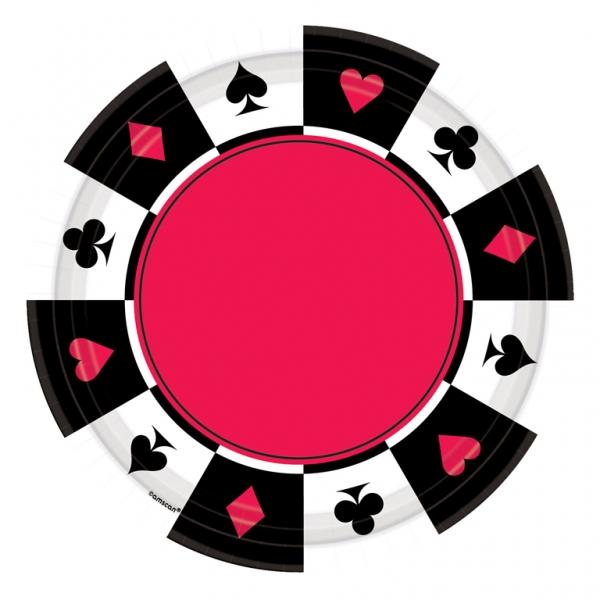 Party Teller Casino Herz Pik Karo Blatt 26,7 cm im Durchm.