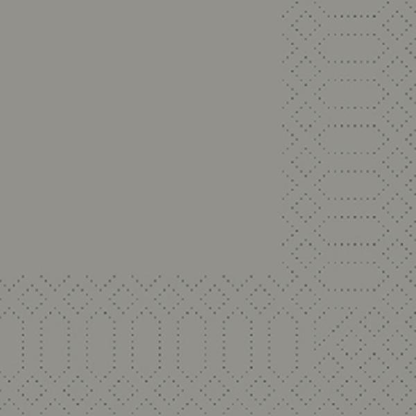 250 Duni Zelltuch Servietten granite grau 3 lagig 1/4 Falz 24x24 cm