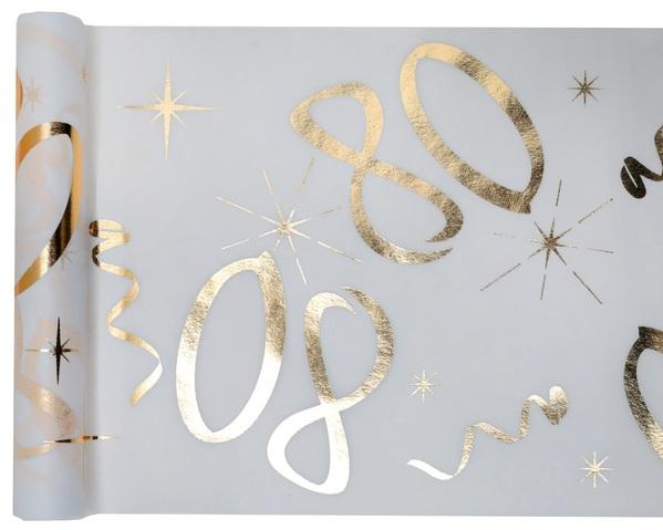 80. Geburtstag Party Tischband gold weiß