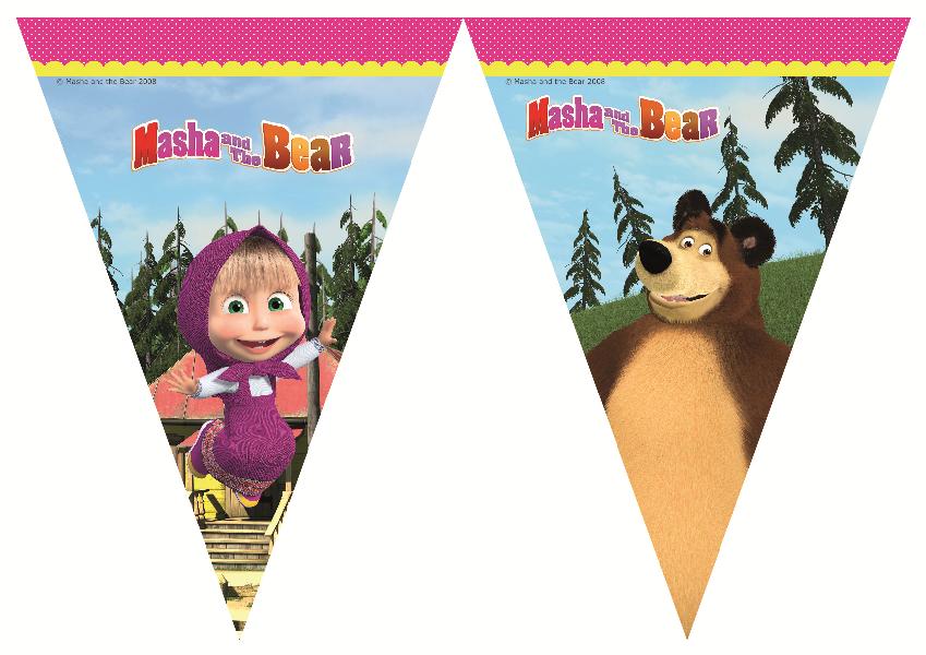 Masha und der Bär Party Banner Wimpel Girlande