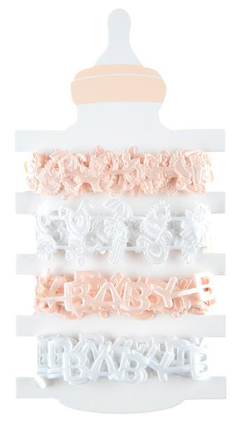 4 Geschenkbänder Taufbänder Baby Mädchen 1,5 cm x 2,00 m coral weiß