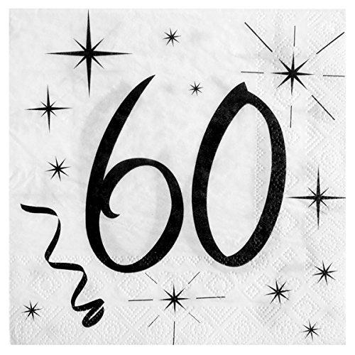 60. Geburtstag Servietten schwarz weiß