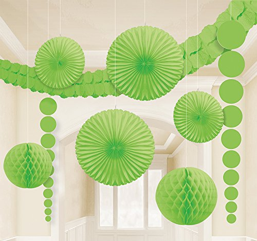 hängende XL Raum Dekoration Party Fächer Lampions uvm. grün