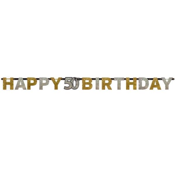 50. Geburtstag Party Girlande Happy Birthday gold schwarz L 213 cm