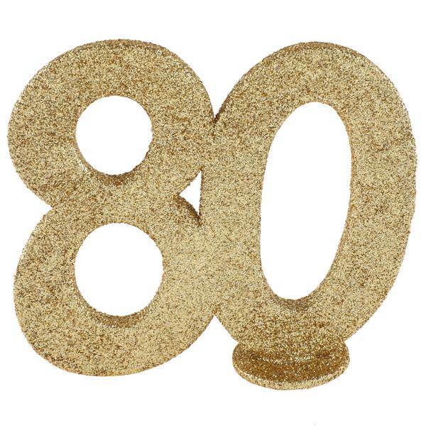 Tisch Aufsteller mit der Jubiliäumszahl 80 in gold