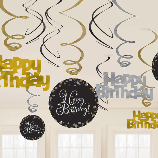 Happy Birthday Geburtstag Party Swirl Girlande schwarz gold
