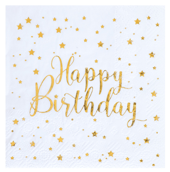 Happy Birthday Geburtstag Servietten gold weiß Metallic 25 x 25 cm
