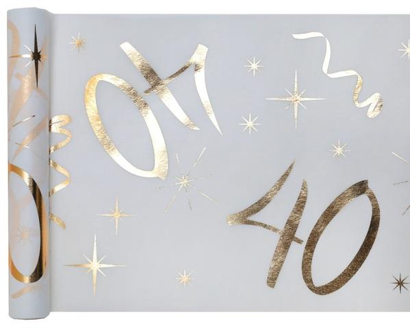 40. Geburtstag Party Tischband gold weiß