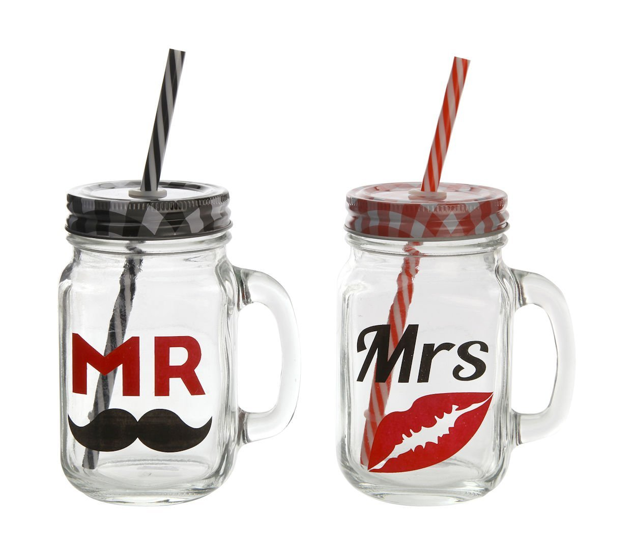 """Mr. & Mrs."" Trinkgläser mit Halm 2er Set"
