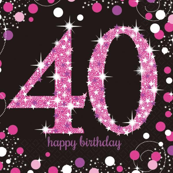 40. Geburtstag Party Servietten pink schwarz