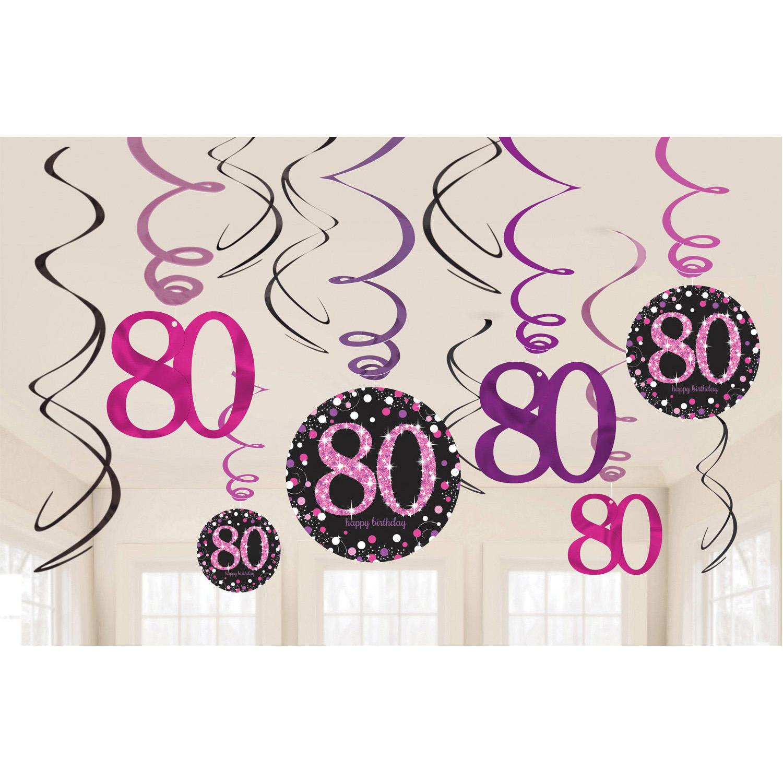 80. Geburtstag Party Swirl Girlanden schwarz pink