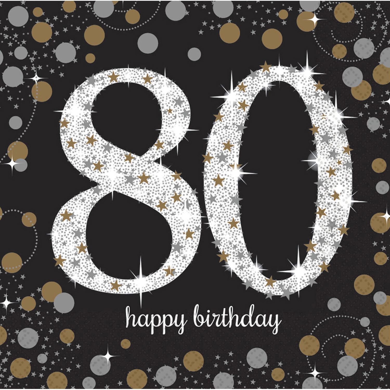 80. Geburtstag Party Servietten schwarz gold