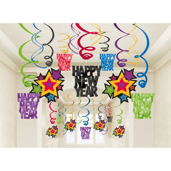 Party Swirl Happy new Year 30 teilig bunt