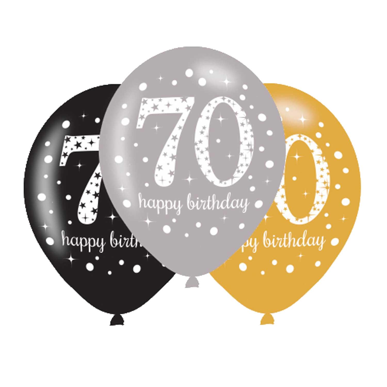 70. Geburtstag Party Luftballons schwarz silber gold
