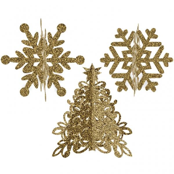 3 teilige Tisch Dekoration 3D Christbaum und Weihnachtssterne