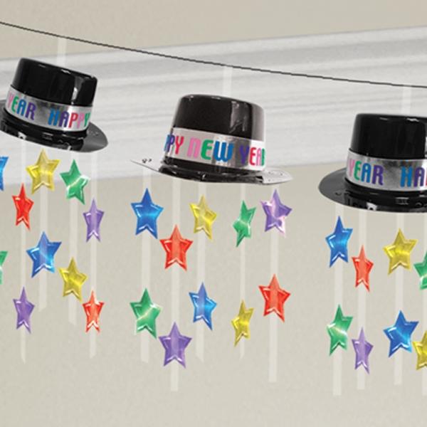 """Girlande """"""""Happy New Year"""" Zylinder und Sterne 3,60 m"""
