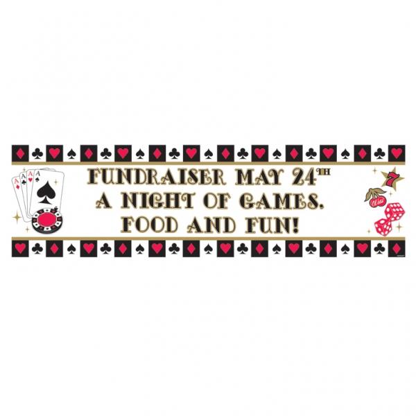 Dekorations Banner zur Selbstbeschriftung Casino Herz Pik Karo Blatt