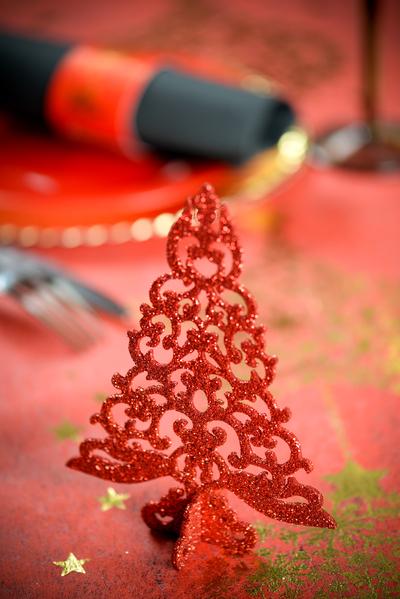 Tannenbaum rot glitzernd 3 D Tisch Dekoration